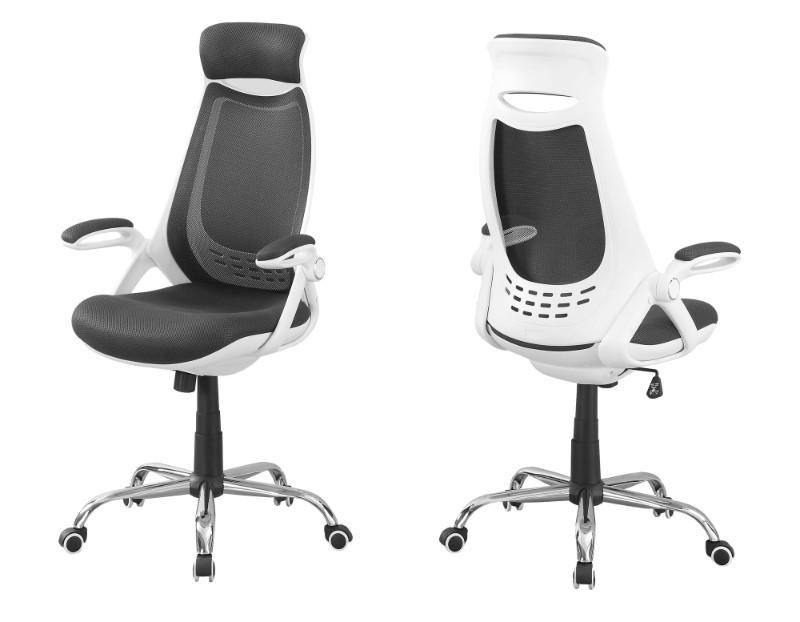Office Chair - White / Grey Mesh / Chrome High-Back Exec