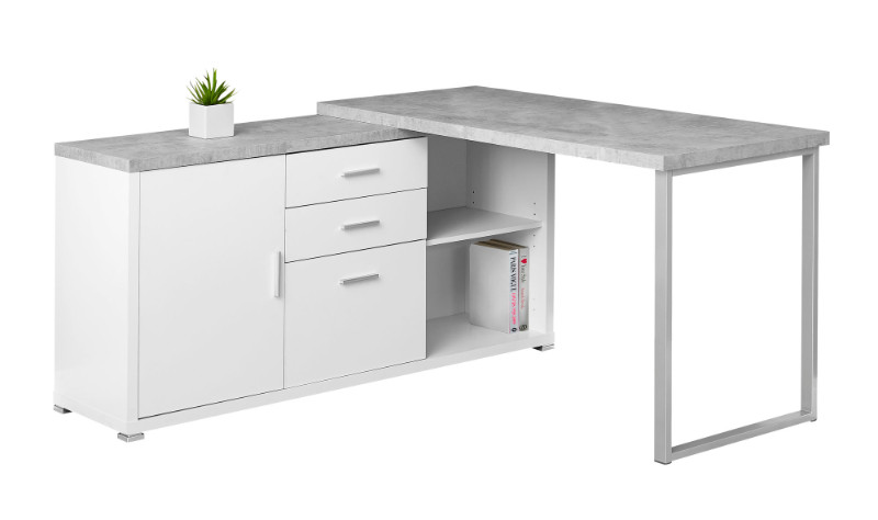 "Computer Desk - 60""L White / Cement-Look Left/Right Face"