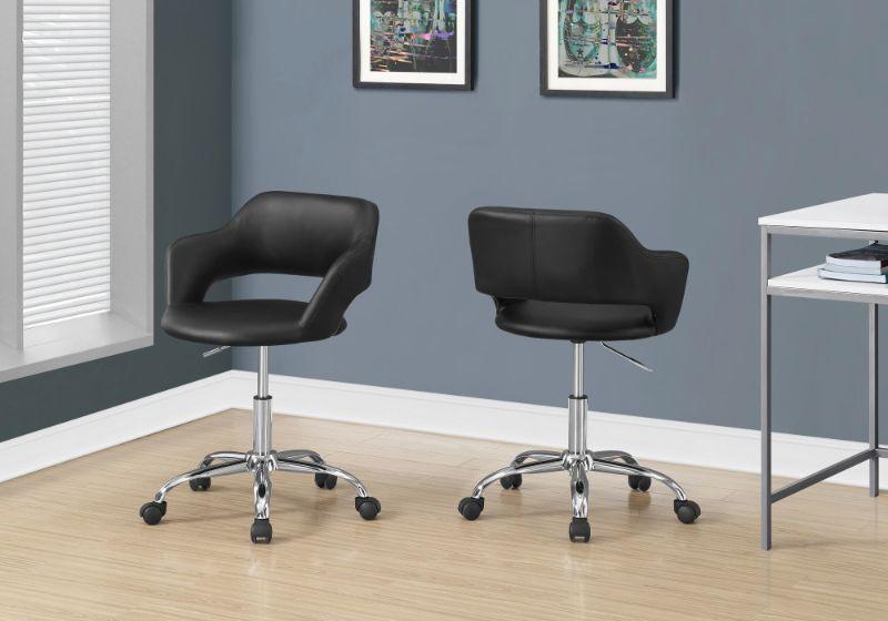 Office Chair - Black / Chrome Metal Hydraulic Lift Base