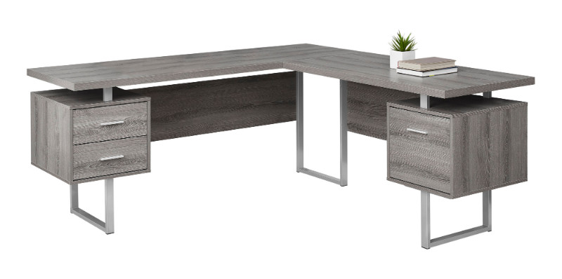 """Computer Desk - 70""""L / Dark Taupe Left Or Right Facing"""