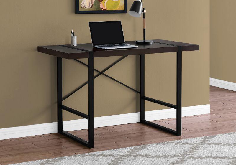 """Computer Desk - 48""""L / Cappuccino / Black Metal"""