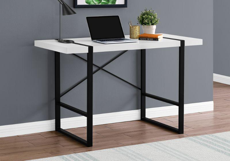 "Computer Desk - 48""L / White / Black Metal"