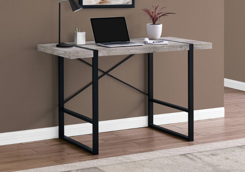 "Computer Desk - 48""L / Taupe Reclaimed Wood / Black Metal"