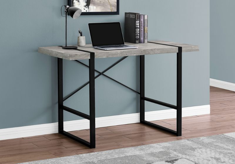 "Computer Desk - 48""L / Grey Reclaimed Wood / Black Metal"