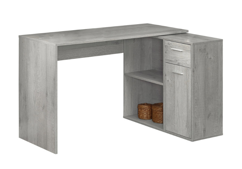 """Computer Desk - 46""""L / Grey With A Storage Cabinet"""