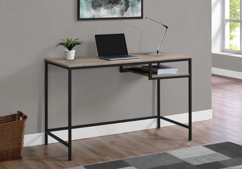 "Computer Desk - 48""L / Dark Taupe / Black Metal"