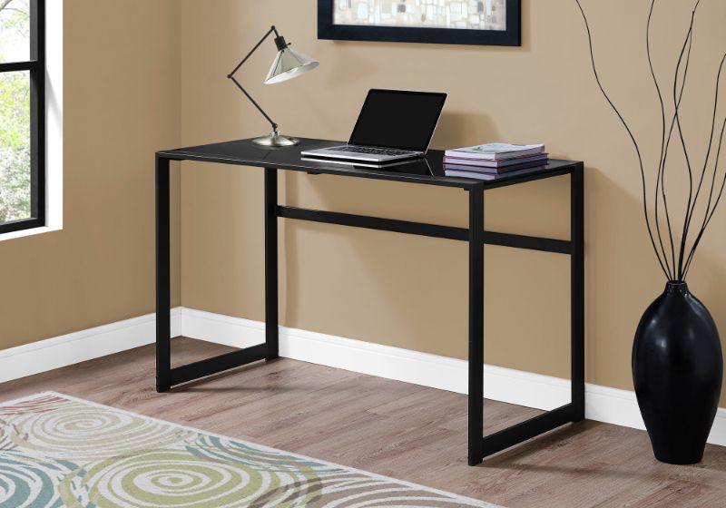 """Computer Desk - 48""""L / Black Metal / Black Tempered Glass"""