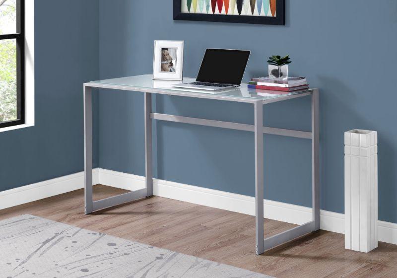 "Computer Desk - 48""L / Silver Metal/ White Tempered Glass"