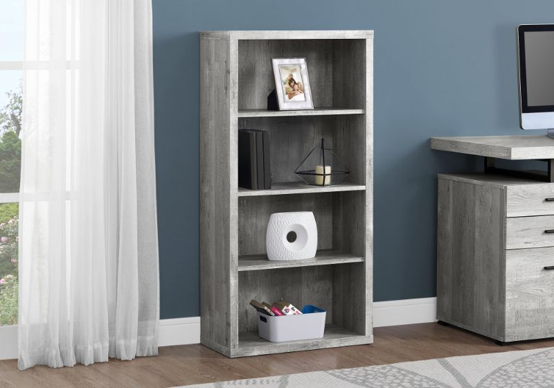 "Bookcase - 48""H / Grey Reclaimed Wood-Look / Adj. Shelves"