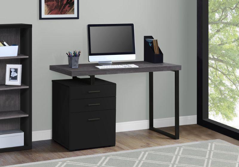 """Computer Desk - 48""""L / Black / Grey Top Left/Right Facing"""