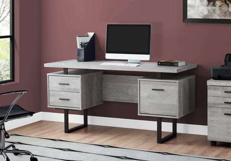 "Computer Desk - 60""L / Grey Reclaimed Wood / Black Metal"
