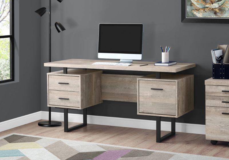"Computer Desk - 60""L / Taupe Reclaimed Wood / Black Metal"