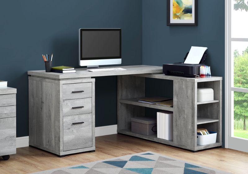 Computer Desk - Grey Reclaimed Wood L/R Facing Corner