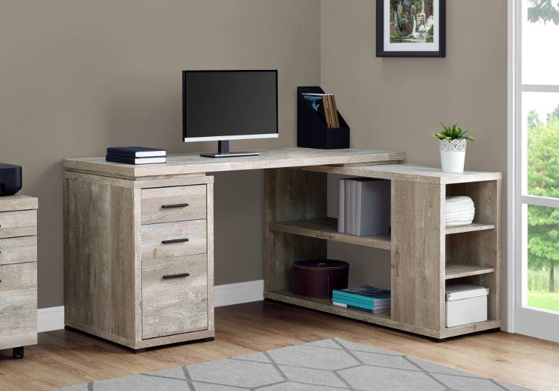 Computer Desk - Taupe Reclaimed Wood L/R Facing Corner