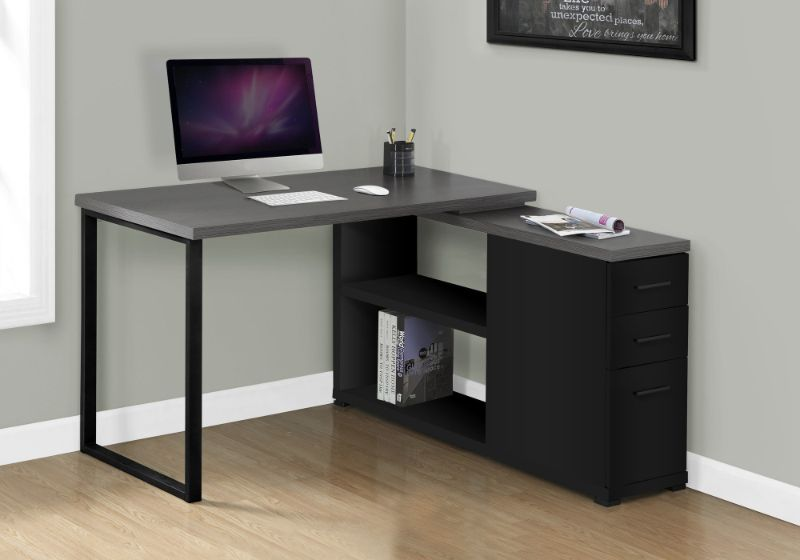 Computer Desk - Black / Grey Top Left/Right Facing Corner