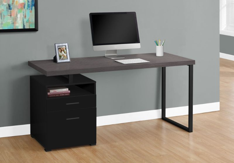 "Computer Desk - 60""L / Black / Grey Top / Black Metal"