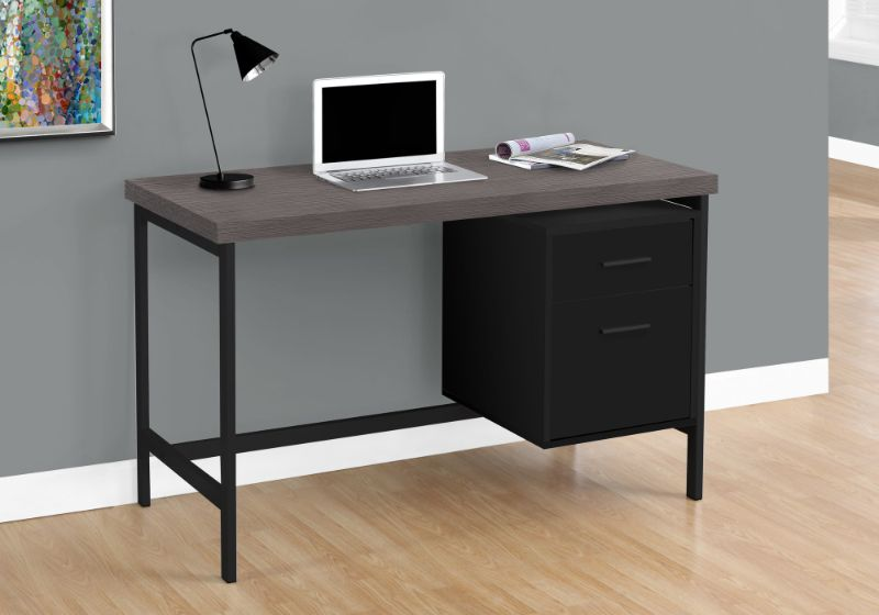 "Computer Desk - 48""L / Black / Grey Top / Black Metal"