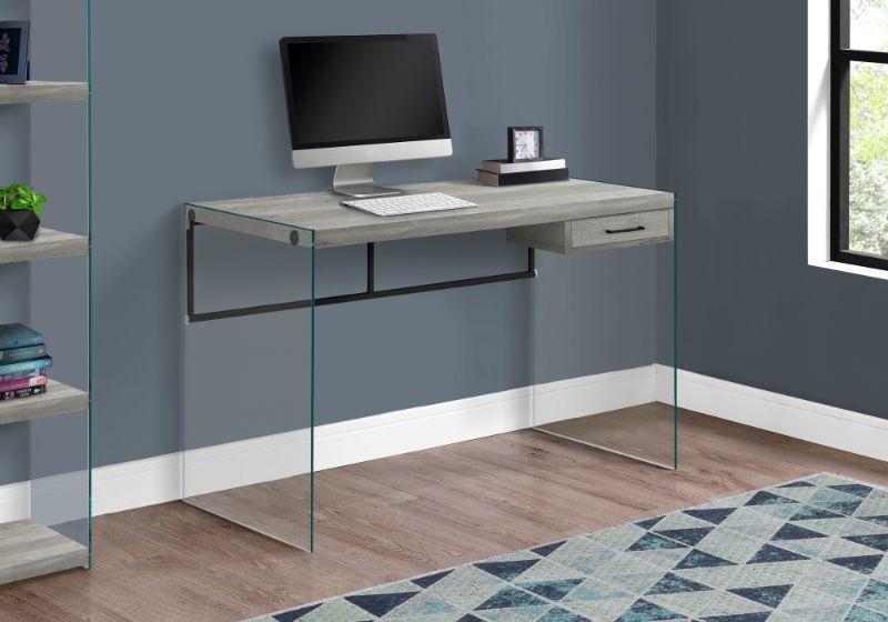 "Computer Desk - 48""L / Grey Reclaimed Wood / Glass Panels"