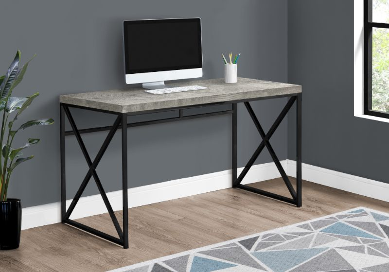 "Computer Desk - 48""L / Grey Reclaimed Wood / Black Metal"