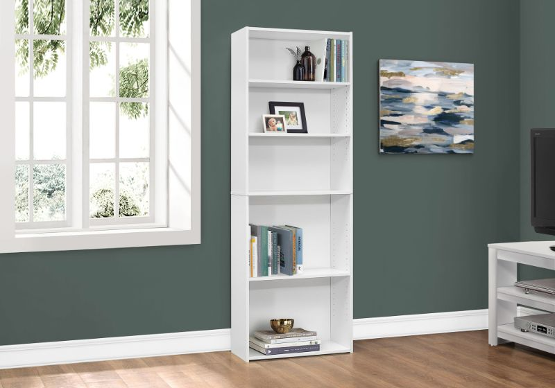 """Bookcase - 72""""H / White With 5 Shelves"""