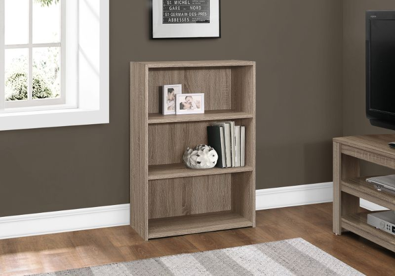 "Bookcase - 36""H / Dark Taupe With 3 Shelves"