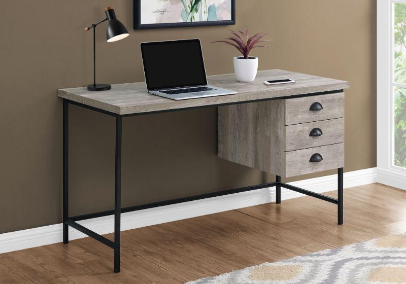 "Computer Desk - 55""L / Taupe Reclaimed Wood / Black Metal"
