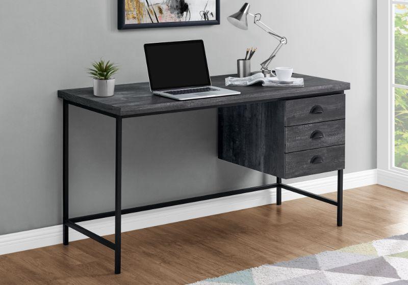 "Computer Desk - 55""L / Black Reclaimed Wood / Black Metal"