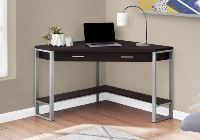 """Computer Desk - 42""""L / Cappuccino Corner / Silver Metal"""