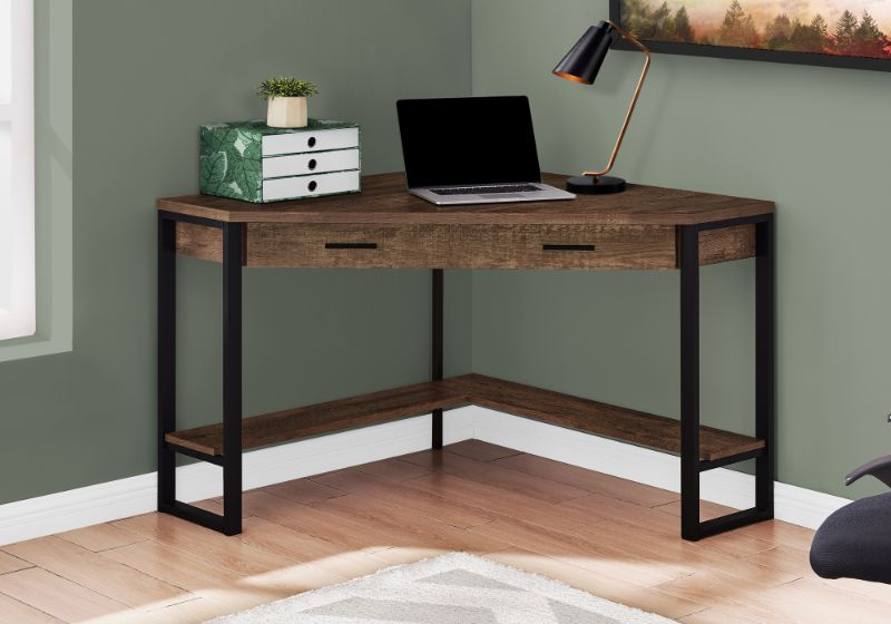 "Computer Desk - 42""L / Brown Reclaimed Wood Corner"