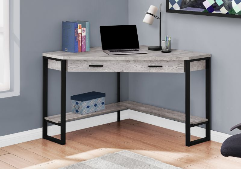 "Computer Desk - 42""L / Grey Reclaimed Wood Corner"