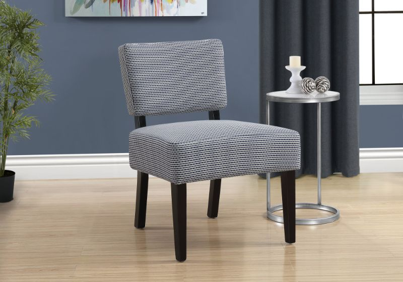 Accent Chair - Light / Dark Blue Abstract Dot Fabric