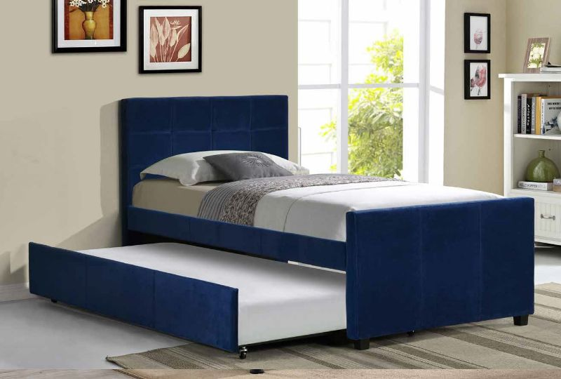 K19 Brayden studio davon navy blue velvet fabric twin size bed includes twin size trundle bed