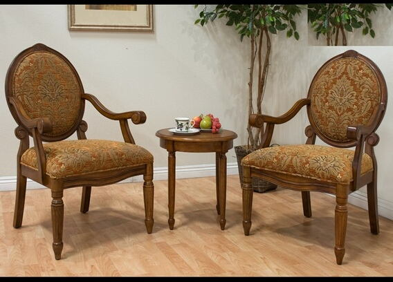 3 pc walnut finish wood accent chairs and side table upholstered with a floral print fabric