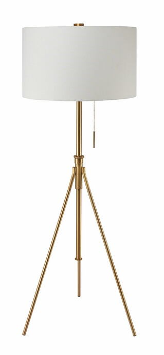 Gold finish metal tripod style floor lamp with barrel lamp shade