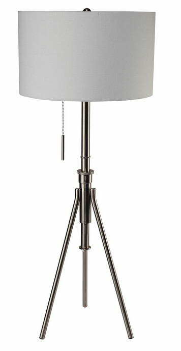 Silver finish metal tripod style floor lamp with barrel lamp shade