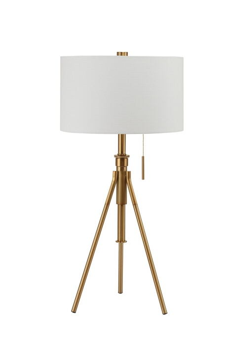 Gold finish metal tripod style table lamp with barrel lamp shade