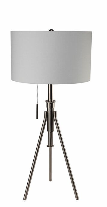 Silver finish metal tripod style table lamp with barrel lamp shade