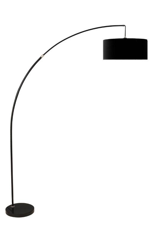 6931BK Black finish overhead arch floor lamp with black shade