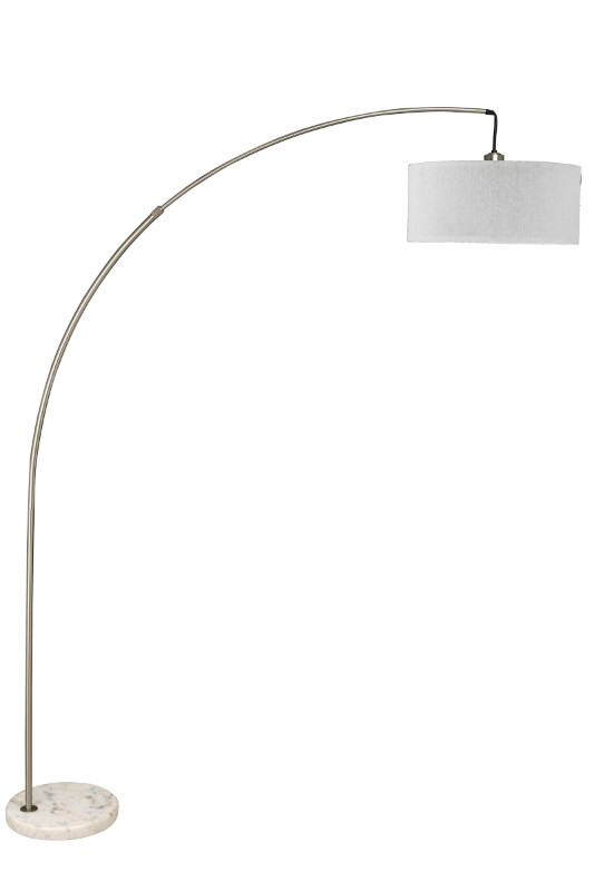 6931SN Brushed steel finish overhead arch floor lamp with white shade