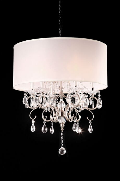 Christina collection hanging crystals hanging ceiling lamp with wide barrel lamp shade