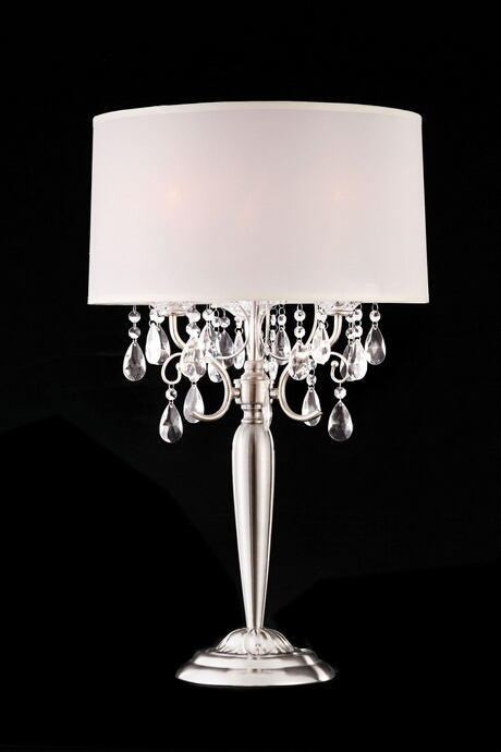 L95109T Christina hanging crystals table lamp with white barrel shade