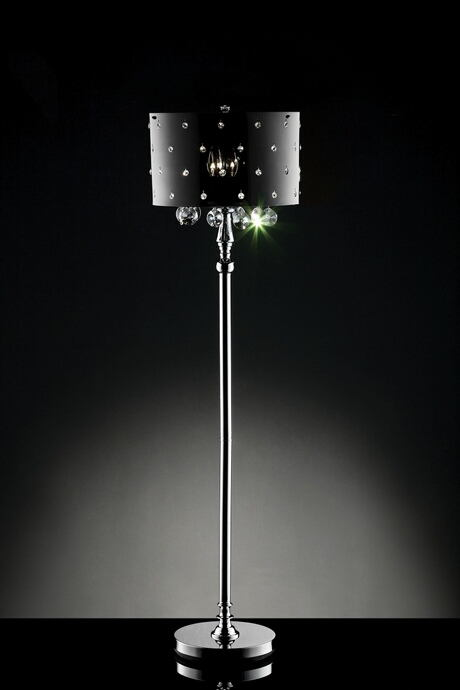 L95120F Christina hanging crystals floor lamp with acrylic shade with crystals