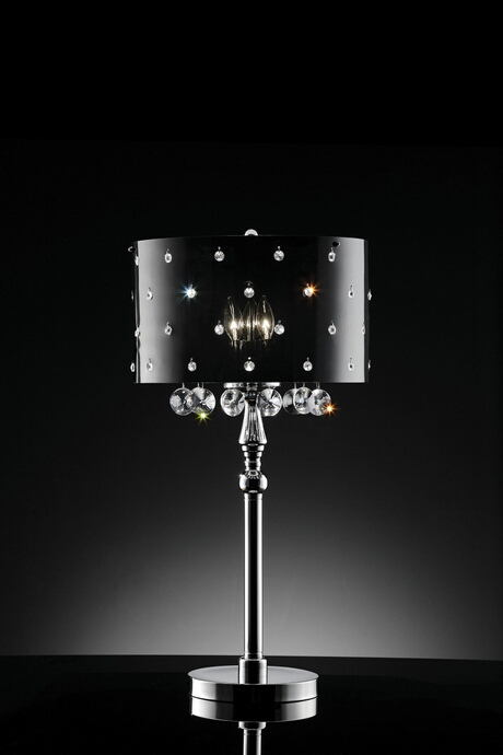 L95120T Christina hanging crystals table lamp with acrylic shade with crystals