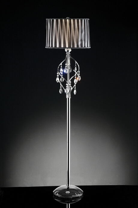 L95123F Christina hanging crystals twisted shade floor lamp