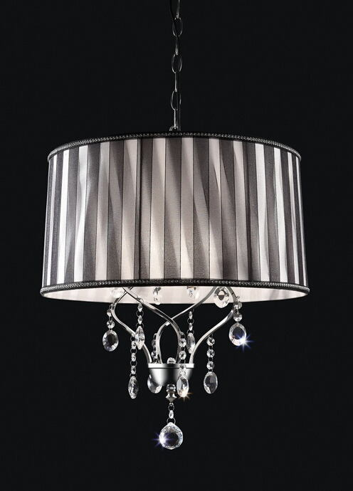 Christina collection twisted look hanging crystals ceiling lamp with barrel lamp shade