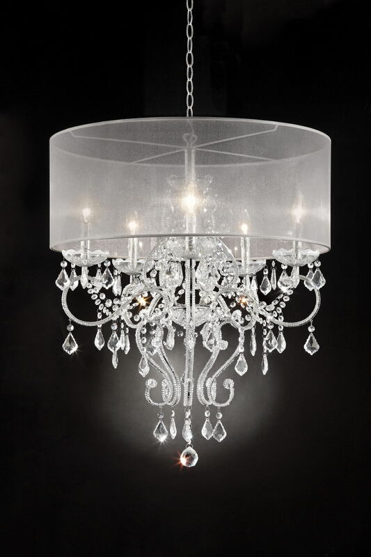 L9720H Silver chrome finish metal and glass crystal hanging chandeliar ceiling lamp with collapsible sheer shade