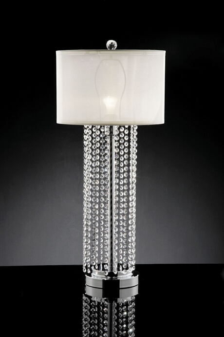 Christina collection hanging crystal strips table lamp with barrel lamp shade