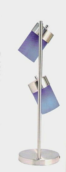 Stainless steel table lamp with 2 swivel lights with blue shades