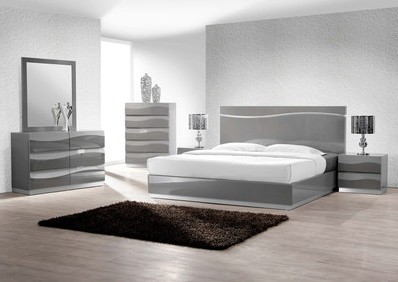 Best Master Leon 5 pc leon collection modern style queen bedroom set with gray lacquer finish