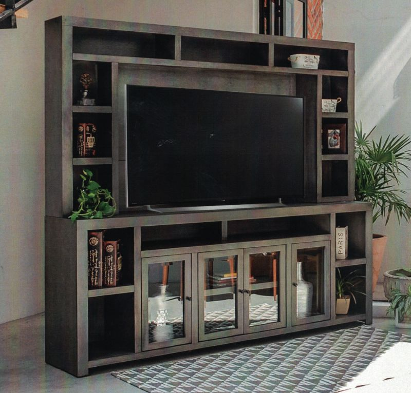 """VH-8501-04  Gracie oaks merlinda gray finish wood entertainment center TV stand holds up to 70"""" TV"""